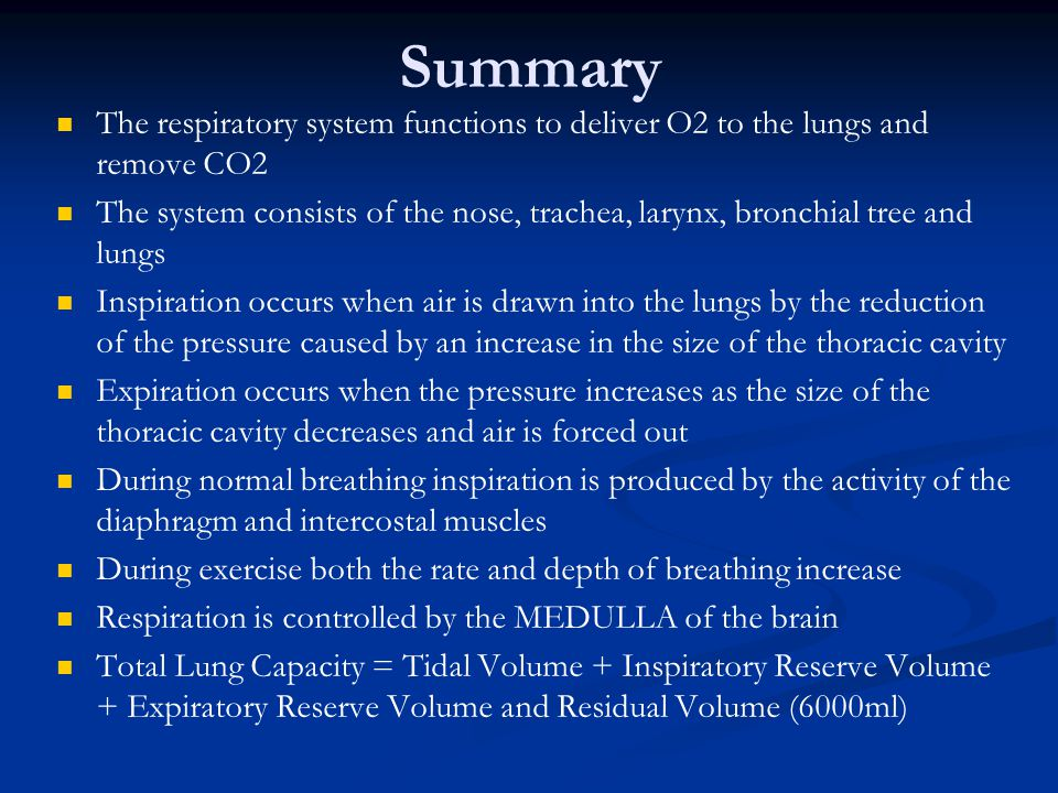 Summary The respiratory system functions to deliver O2 to the lungs and remove CO2 The system consists of the nose, trachea, larynx, bronchial tree an