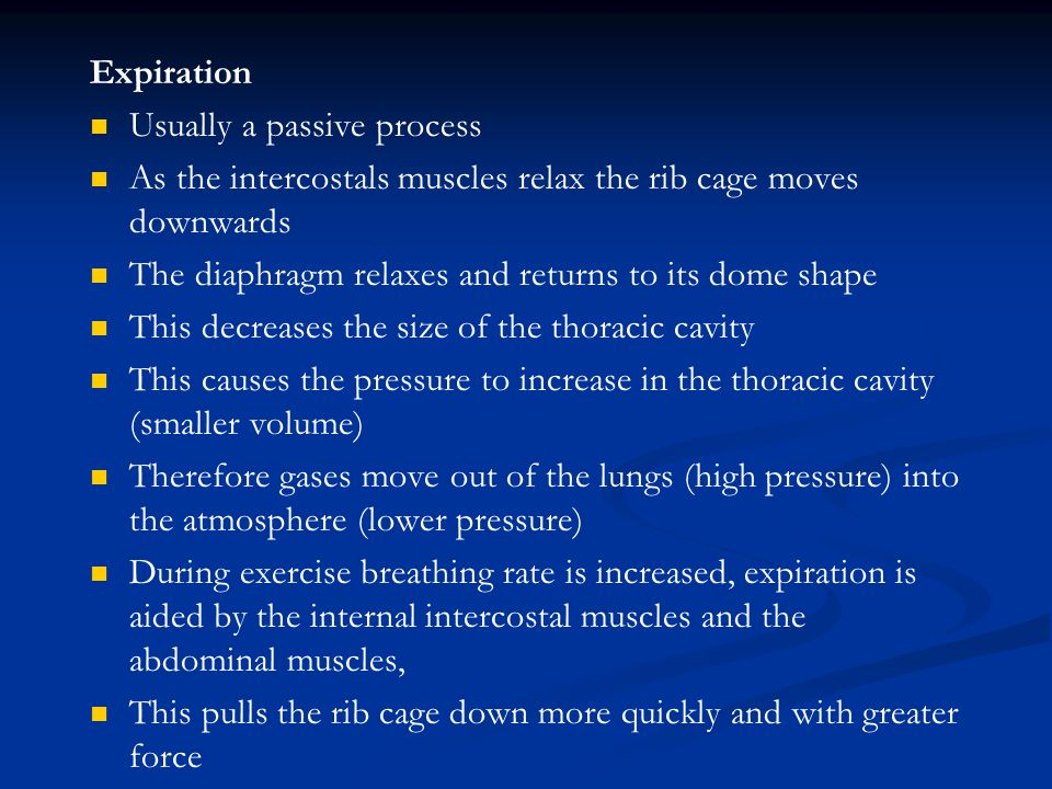 Expiration Usually a passive process As the intercostals muscles relax the rib cage moves downwards The diaphragm relaxes and returns to its dome shap