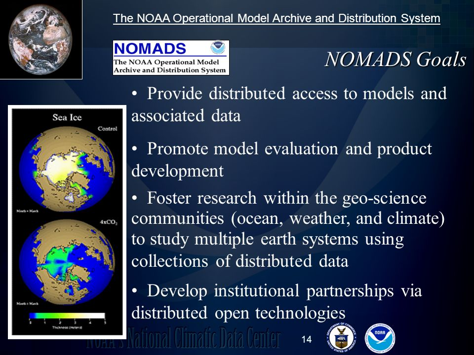 14 Foster research within the geo-science communities (ocean, weather, and climate) to study multiple earth systems using collections of distributed data Promote model evaluation and product development Develop institutional partnerships via distributed open technologies Provide distributed access to models and associated data NOMADS Goals The NOAA Operational Model Archive and Distribution System