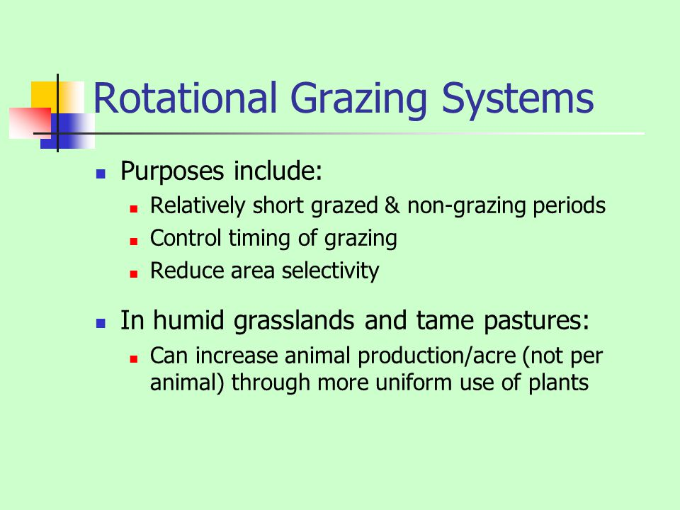 Rotational Grazing Systems Purposes include: Relatively short grazed & non-grazing periods Control timing of grazing Reduce area selectivity In humid