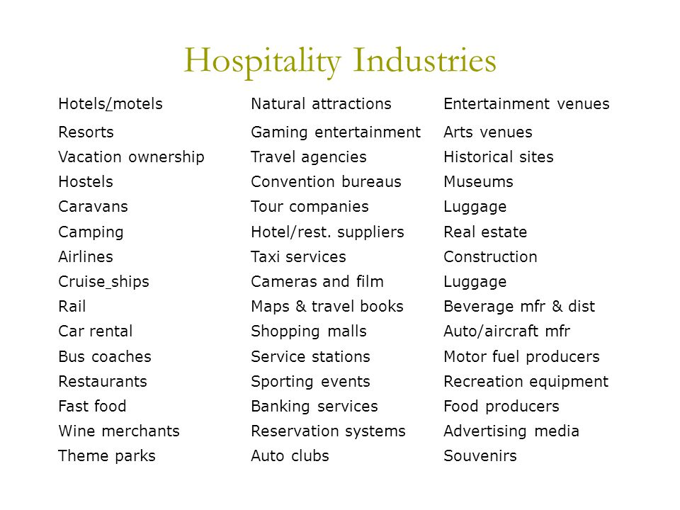Hospitality Industries Hotels/motelsNatural attractionsEntertainment venues ResortsGaming entertainmentArts venues Vacation ownershipTravel agenciesHistorical sites HostelsConvention bureausMuseums CaravansTour companiesLuggage CampingHotel/rest.