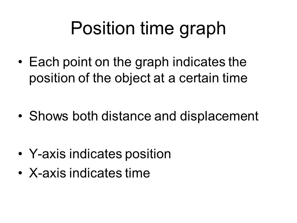 Position time graph Each point on the graph indicates the position of the object at a certain time Shows both distance and displacement Y-axis indicat