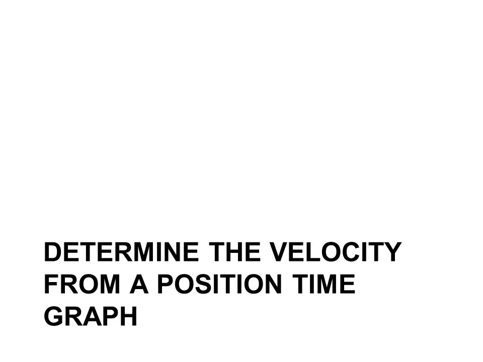 DETERMINE THE VELOCITY FROM A POSITION TIME GRAPH