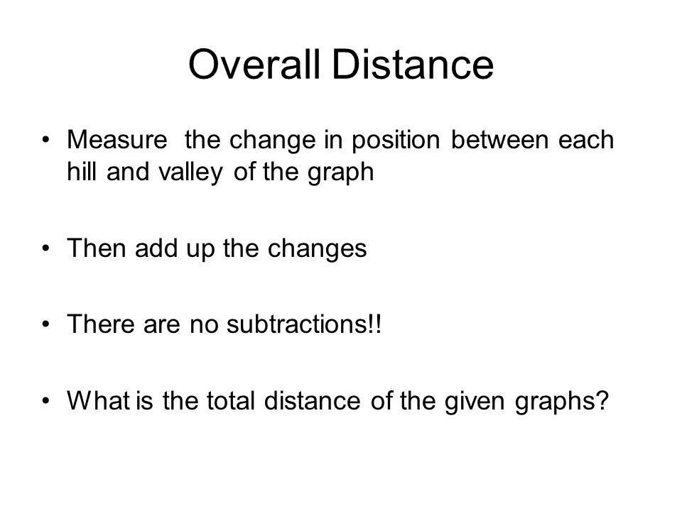 Overall Distance Measure the change in position between each hill and valley of the graph Then add up the changes There are no subtractions!! What is