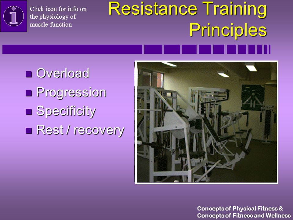 Concepts of Physical Fitness & Concepts of Fitness and Wellness Resistance Training Technique n Lift in a controlled manner n Exhale during effort n Bring weight down slowly Click for info on concentric and eccentric contractions