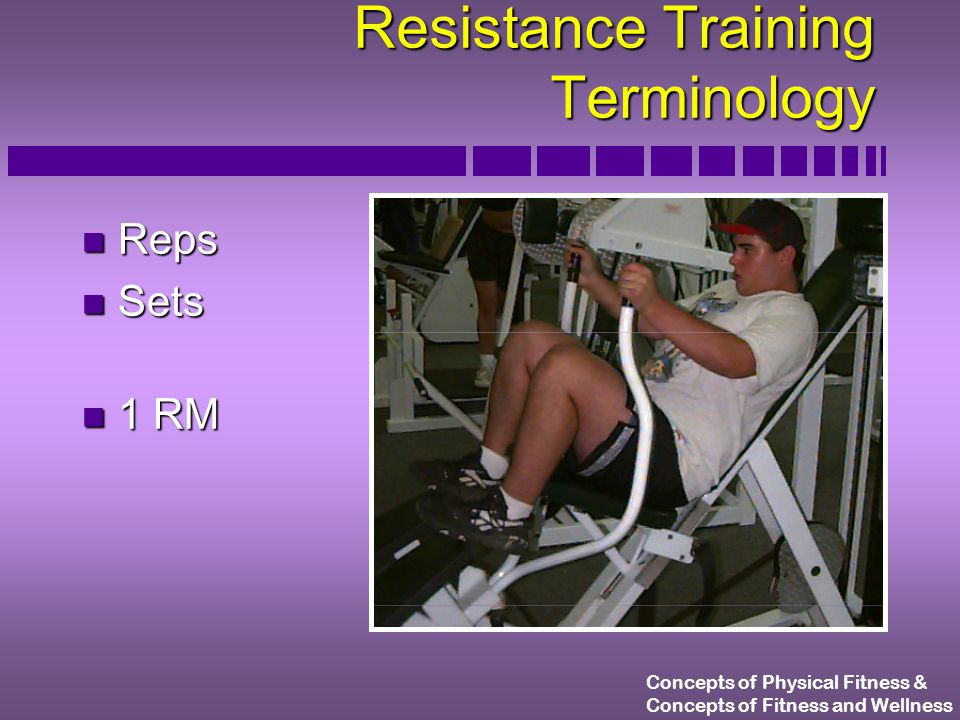 Concepts of Physical Fitness & Concepts of Fitness and Wellness Repetition Continuum E N D S T R Hi Reps Lo Wt.