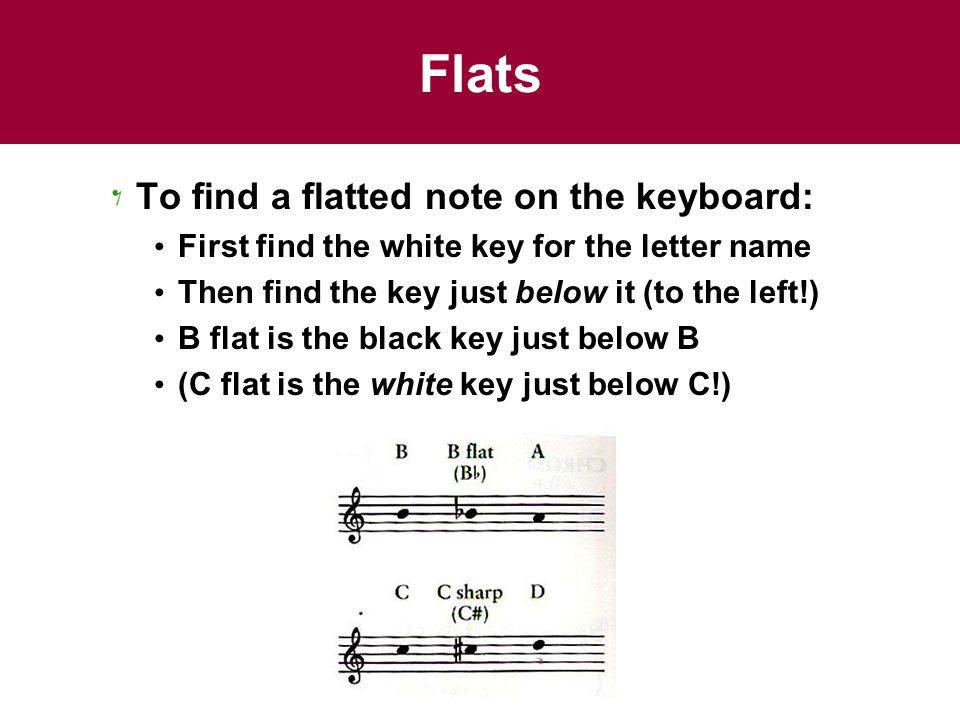Flats To find a flatted note on the keyboard: First find the white key for the letter name Then find the key just below it (to the left!) B flat is the black key just below B (C flat is the white key just below C!)