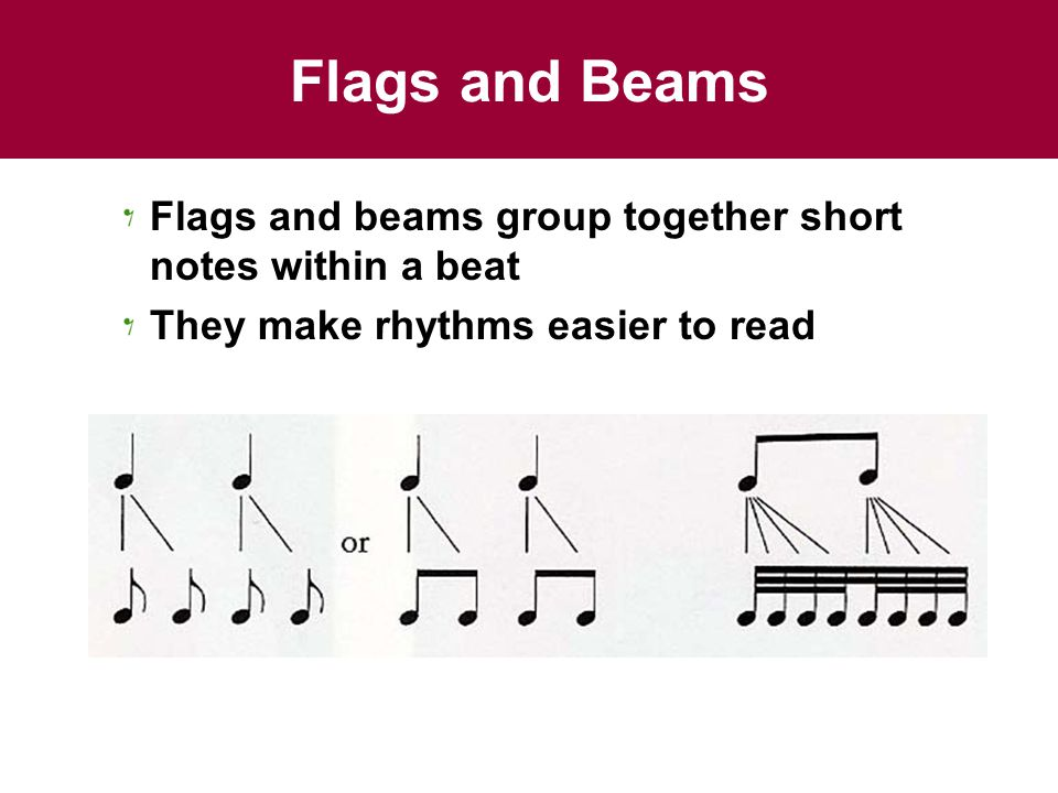 Flags and Beams Flags and beams group together short notes within a beat They make rhythms easier to read