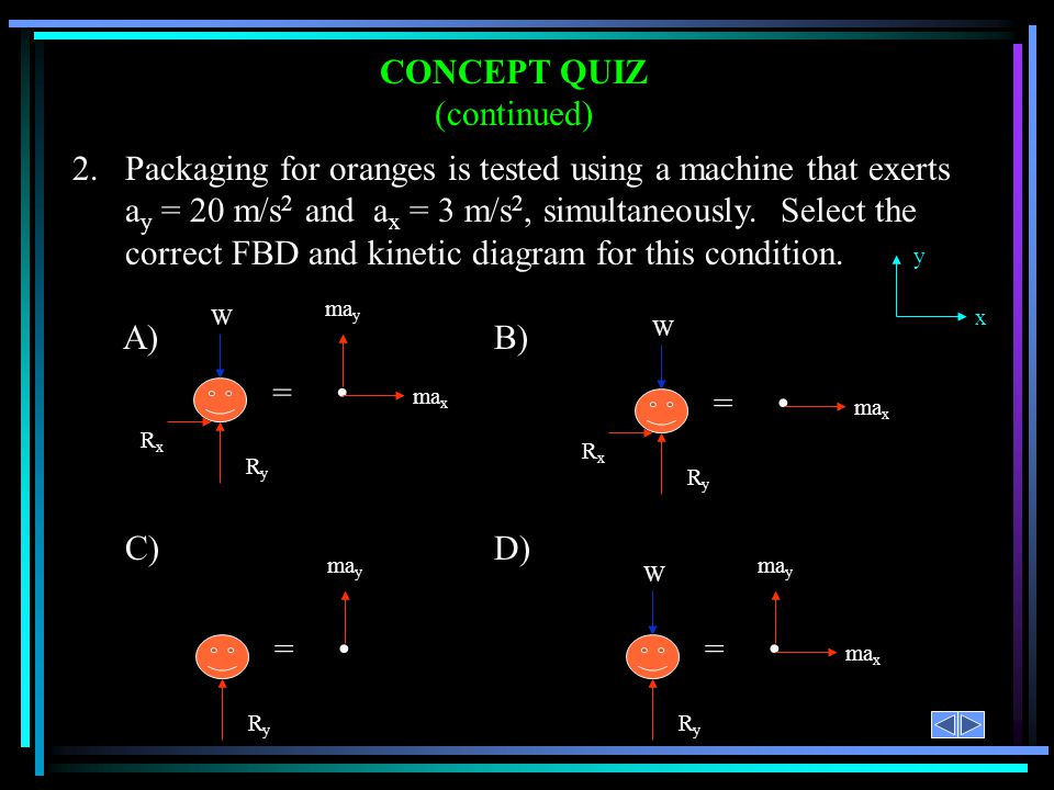 CONCEPT QUIZ (continued) 2.Packaging for oranges is tested using a machine that exerts a y = 20 m/s 2 and a x = 3 m/s 2, simultaneously. Select the co