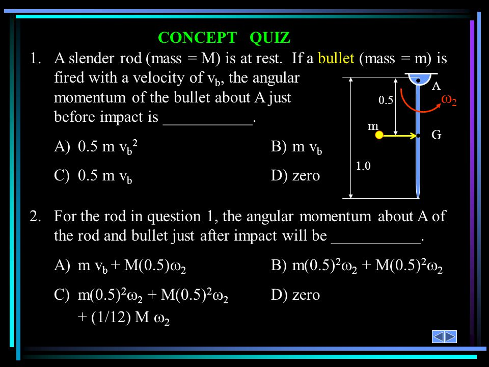 CONCEPT QUIZ 2.For the rod in question 1, the angular momentum about A of the rod and bullet just after impact will be ___________. A)m v b + M(0.5) 2