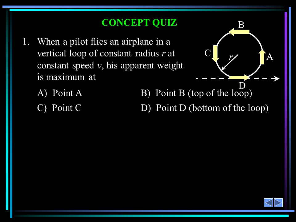 CONCEPT QUIZ 1.When a pilot flies an airplane in a vertical loop of constant radius r at constant speed v, his apparent weight is maximum at A) Point