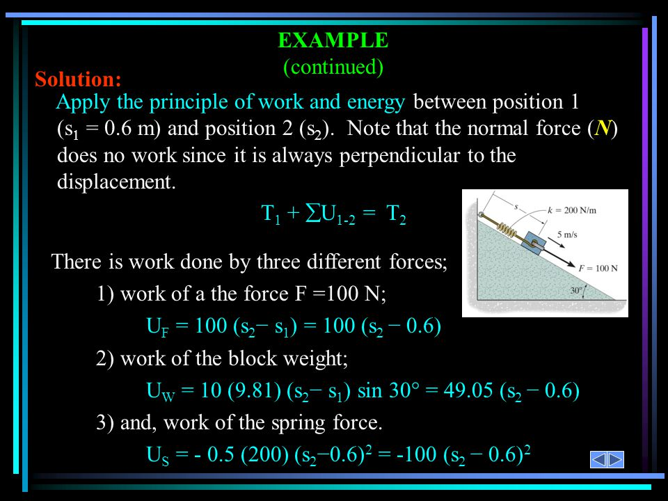 Apply the principle of work and energy between position 1 (s = 0.6 m) and position 2 (s ). Note that the normal force (N) does no work since it is alw