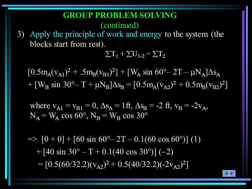 [0.5m A (v A1 ) 2 +.5m B (v B1 ) 2 ] + [W A sin 60 – 2T – N A ] s A + [W B sin 30 – T + N B ] s B = [0.5m A (v A2 ) 2 + 0.5m B (v B2 ) 2 ] 3)Apply the
