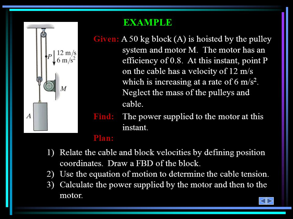 EXAMPLE Given: A 50 kg block (A) is hoisted by the pulley system and motor M. The motor has an efficiency of 0.8. At this instant, point P on the cabl