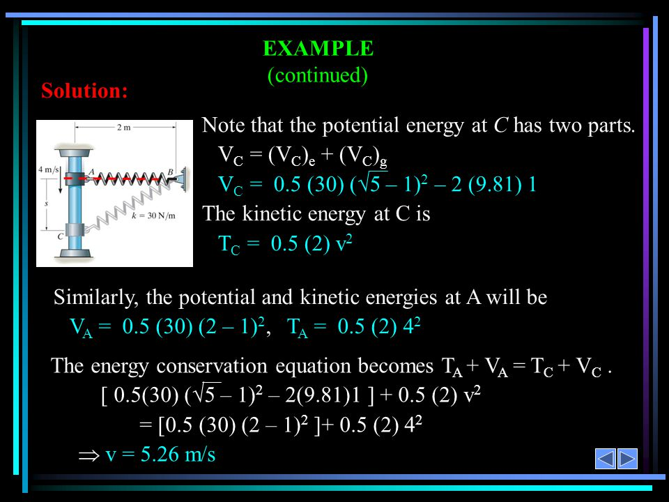 Similarly, the potential and kinetic energies at A will be V A = 0.5 (30) (2 – 1) 2, T A = 0.5 (2) 4 2 EXAMPLE (continued) Solution: Note that the pot