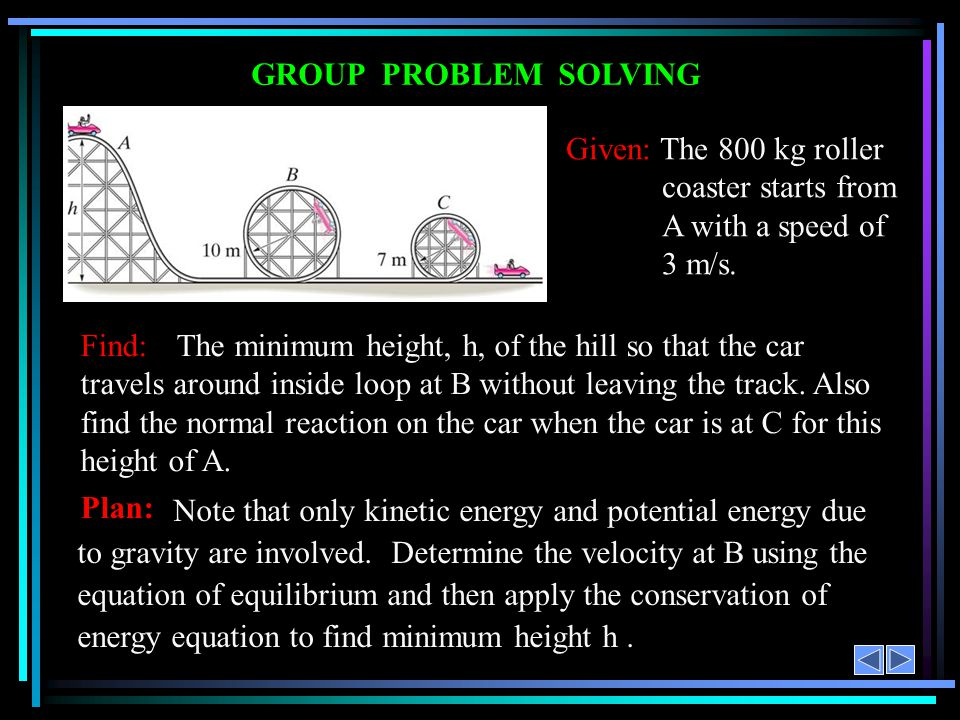 GROUP PROBLEM SOLVING Given: The 800 kg roller coaster starts from A with a speed of 3 m/s. Note that only kinetic energy and potential energy due to