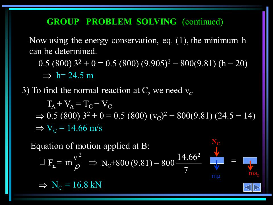 GROUP PROBLEM SOLVING (continued) Now using the energy conservation, eq. (1), the minimum h can be determined. 0.5 (800) 3 2 + 0 = 0.5 (800) (9.905) 2