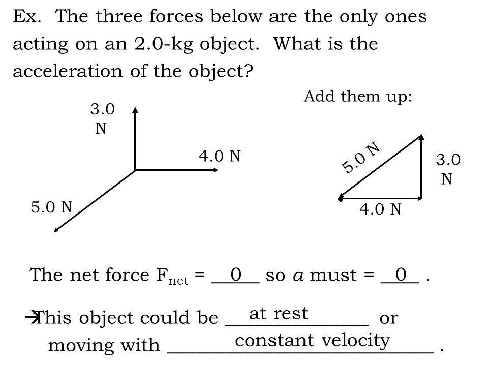 3.0 N 4.0 N Ex. The three forces below are the only ones acting on an 2.0-kg object. What is the acceleration of the object? 5.0 N This object could b