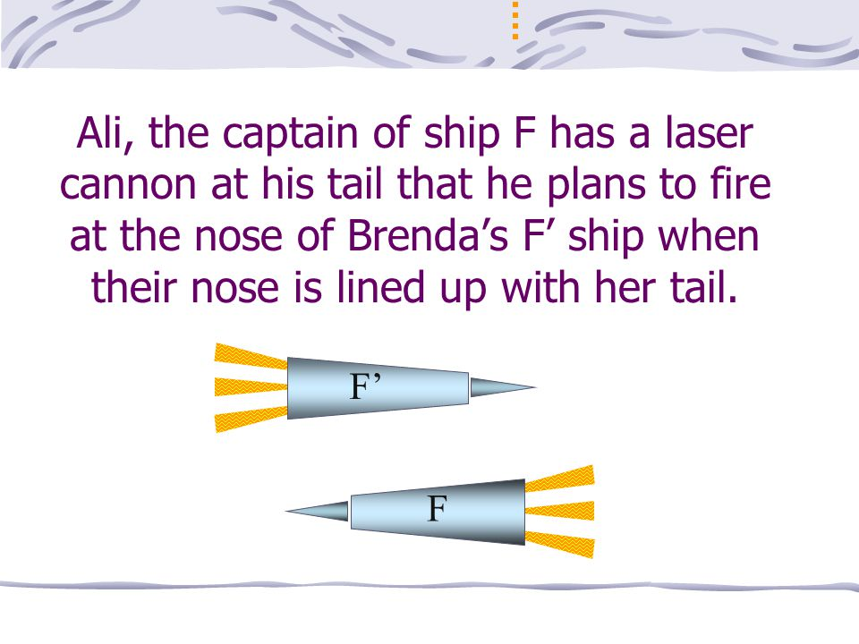 v = 3/5 c 50 100 150 50150100 200 120 At t = -32 ns, Brenda sees her nose beside the cannon, well before it is fired.
