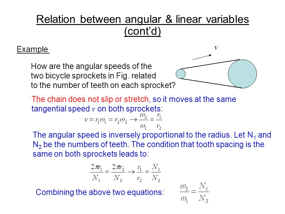Relation between angular & linear variables (contd) Example v How are the angular speeds of the two bicycle sprockets in Fig. related to the number of