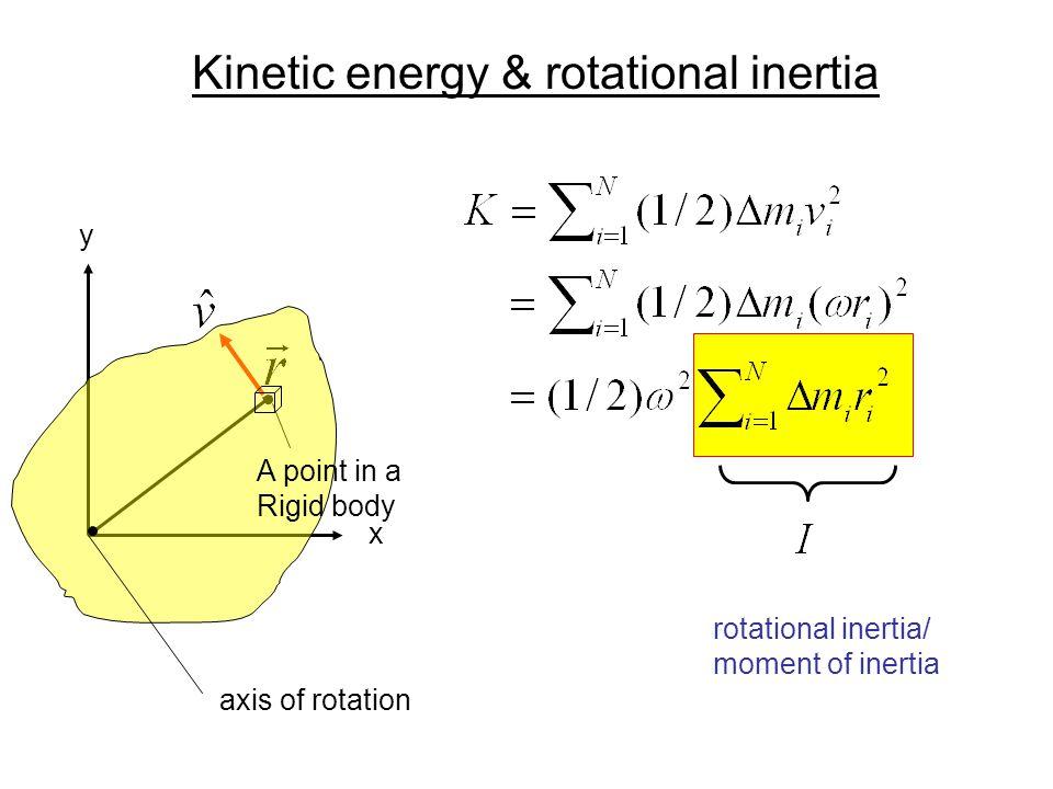 Kinetic energy & rotational inertia x y axis of rotation rotational inertia/ moment of inertia A point in a Rigid body