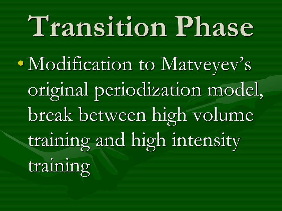 Transition Phase Modification to Matveyevs original periodization model, break between high volume training and high intensity trainingModification to