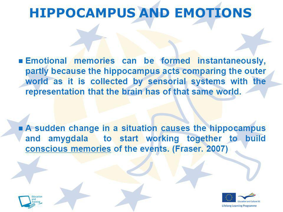 Emotional memories can be formed instantaneously, partly because the hippocampus acts comparing the outer world as it is collected by sensorial systems with the representation that the brain has of that same world.