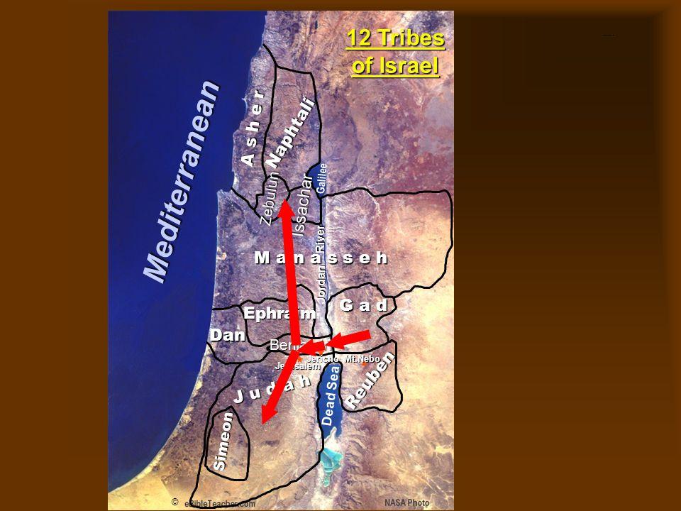 Twelve Tribes of Israel A s h e r Simeon Naphtali Zebulun Issachar Ephraim M a n a s s e h G a d Dan Reuben J u d a h Benjamin Jerusalem Dead Sea Galilee Jordan River JerichoMt.Nebo © 12 Tribes of Israel Mediterranean