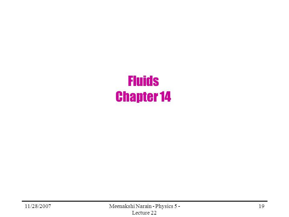 11/28/2007Meenakshi Narain - Physics 5 - Lecture 22 19 Fluids Chapter 14