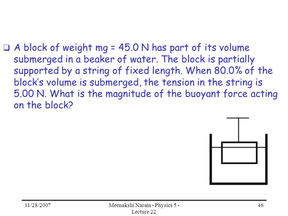 11/28/2007Meenakshi Narain - Physics 5 - Lecture 22 46 A block of weight mg = 45.0 N has part of its volume submerged in a beaker of water. The block