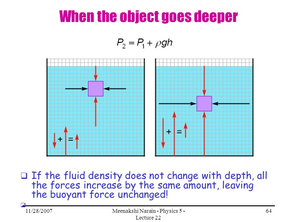 11/28/2007Meenakshi Narain - Physics 5 - Lecture 22 64 When the object goes deeper If the fluid density does not change with depth, all the forces inc
