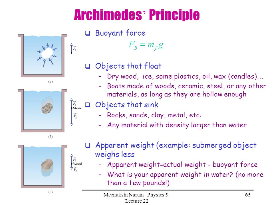 11/28/2007Meenakshi Narain - Physics 5 - Lecture 22 65 Archimedes Principle Buoyant force Objects that float –Dry wood, ice, some plastics, oil, wax (