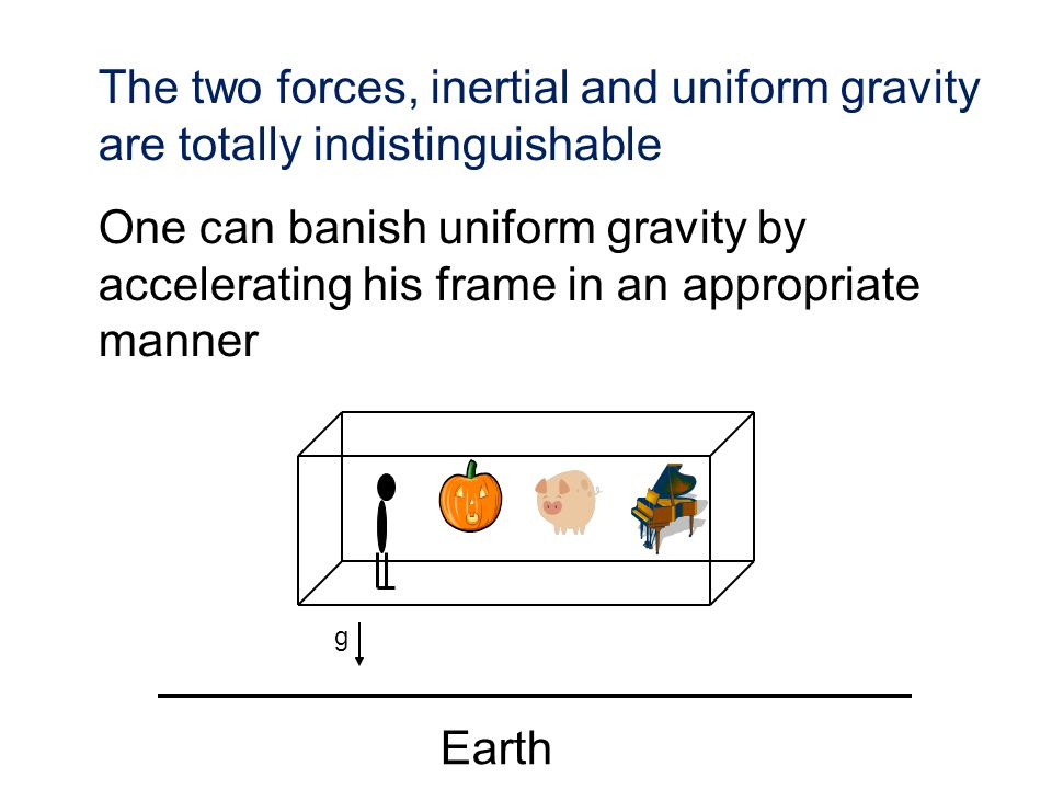 The two forces, inertial and uniform gravity are totally indistinguishable One can banish uniform gravity by accelerating his frame in an appropriate
