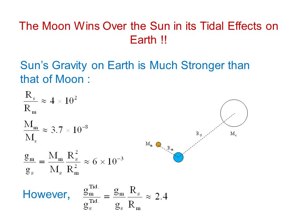 The Moon Wins Over the Sun in its Tidal Effects on Earth !! Suns Gravity on Earth is Much Stronger than that of Moon : However,
