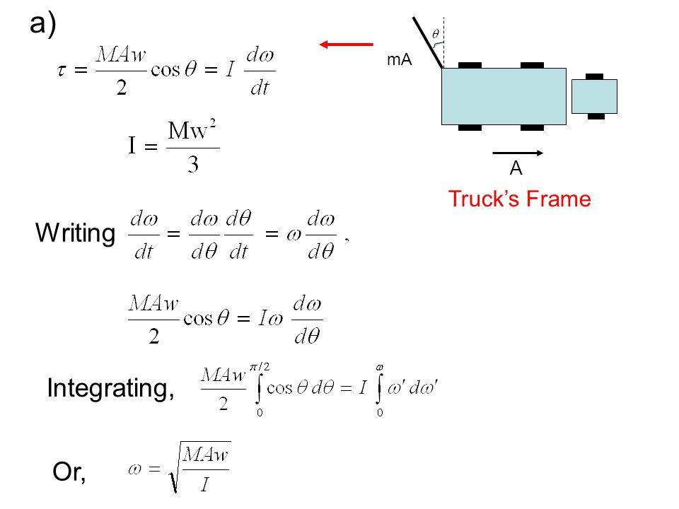 Writing Integrating, Or, a) mA A Trucks Frame