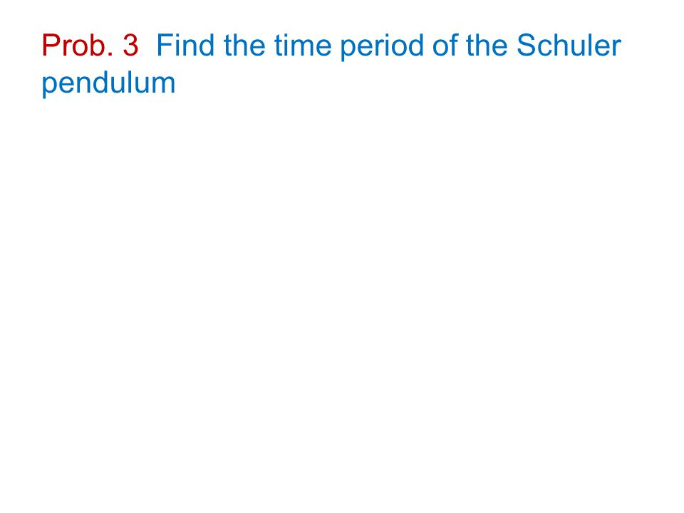 Prob. 3 Find the time period of the Schuler pendulum