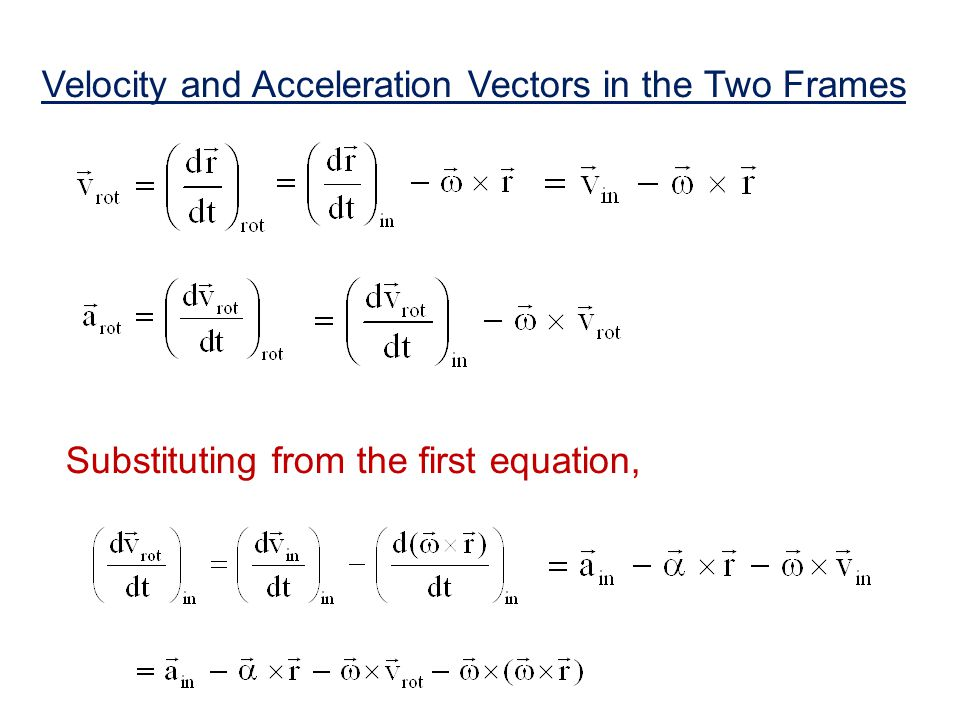 Velocity and Acceleration Vectors in the Two Frames Substituting from the first equation,