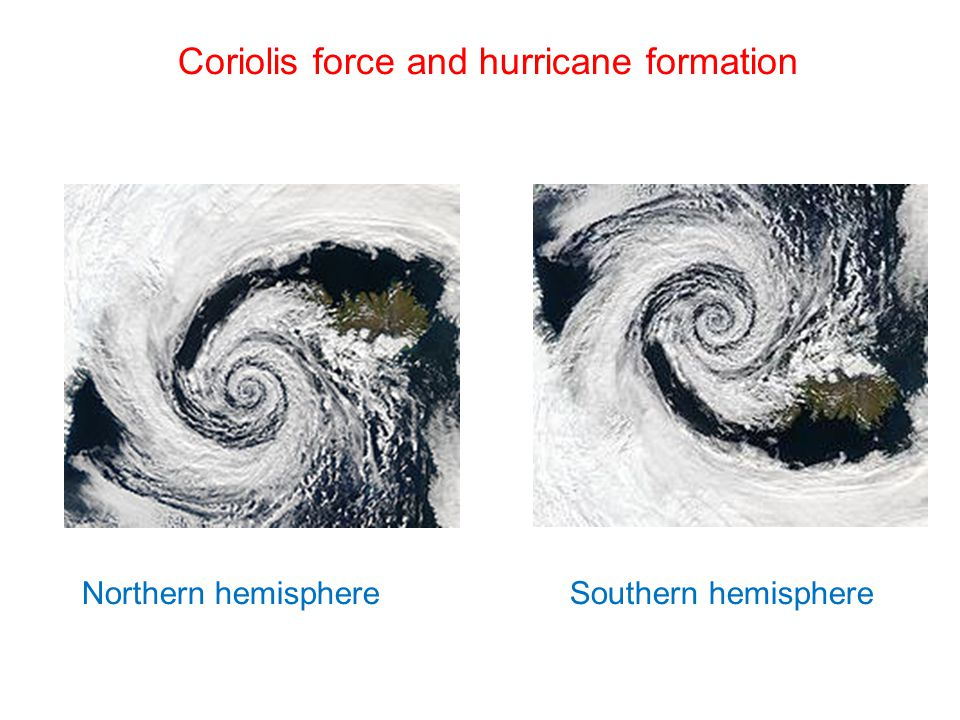 Coriolis force and hurricane formation Northern hemisphereSouthern hemisphere