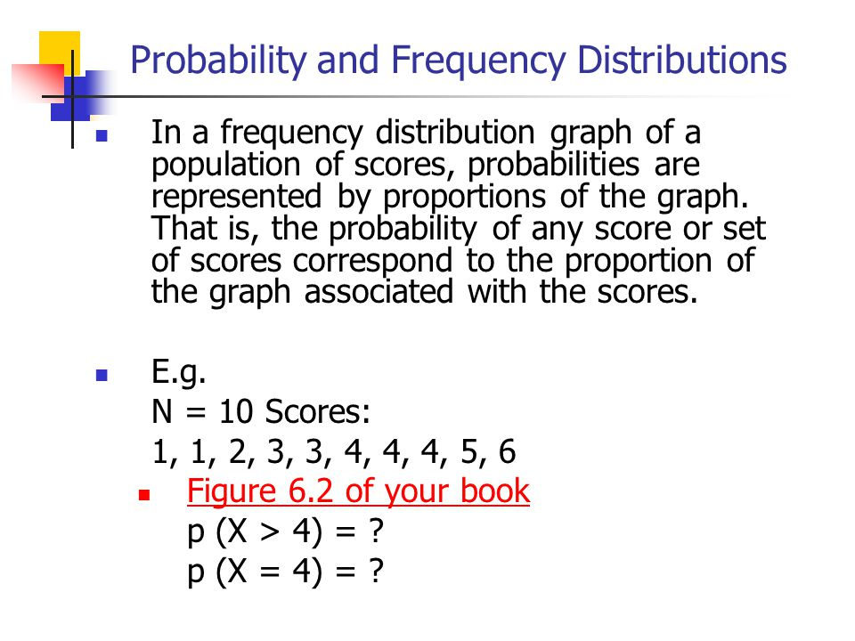 Probability and Frequency Distributions In a frequency distribution graph of a population of scores, probabilities are represented by proportions of t