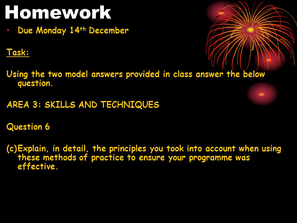 Homework Due Monday 14 th December Task: Using the two model answers provided in class answer the below question.
