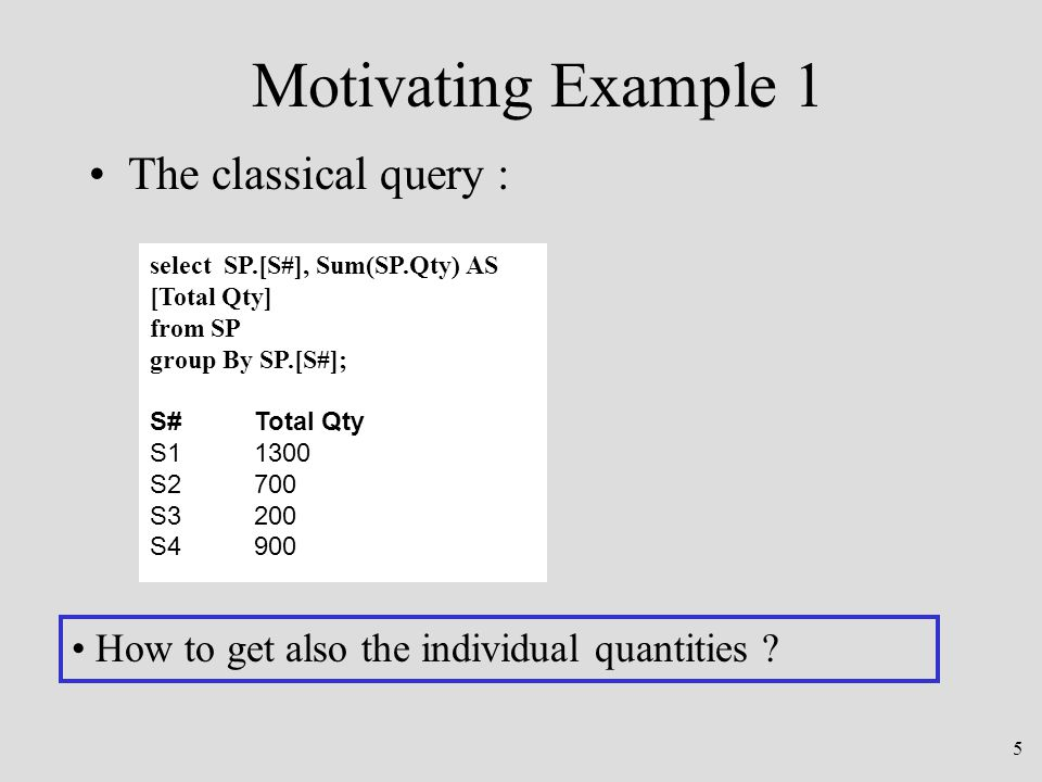 6 Motivating Example 2 A database of persons having: –Multiple Hobbies –Multiple preferred Restaurants –Many Friends Best design: –four 4-NF tables P (SS #, Name), H (SS#, Hobby), R (SS#, Rest), F (SS#, Friend)