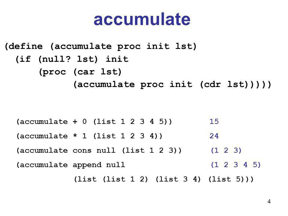 4 accumulate (define (accumulate proc init lst) (if (null.