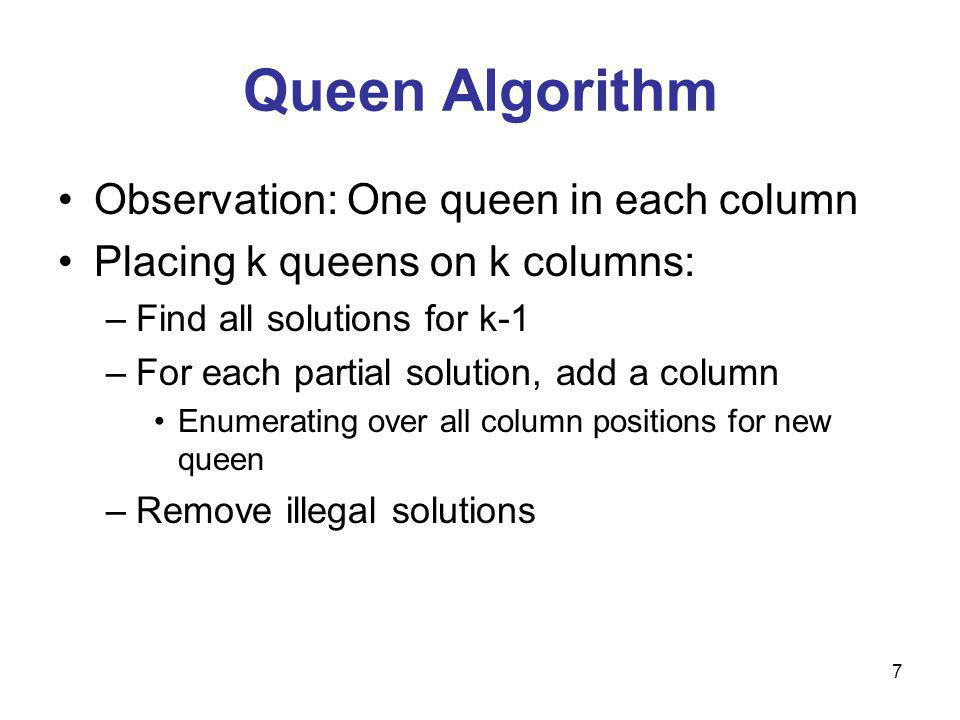 7 Queen Algorithm Observation: One queen in each column Placing k queens on k columns: –Find all solutions for k-1 –For each partial solution, add a column Enumerating over all column positions for new queen –Remove illegal solutions