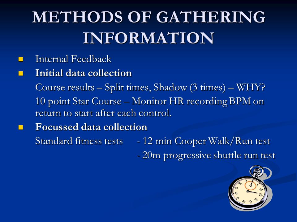 METHODS OF GATHERING INFORMATION Internal Feedback Internal Feedback Initial data collection Initial data collection Course results – Split times, Shadow (3 times) – WHY.