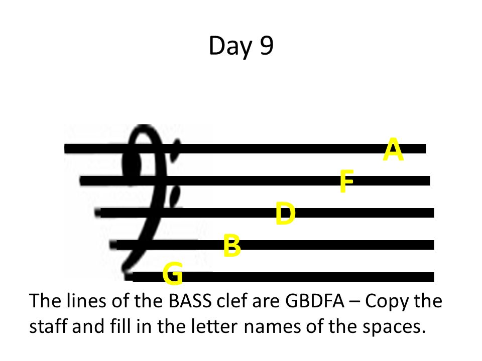 Day 9 The lines of the BASS clef are GBDFA – Copy the staff and fill in the letter names of the spaces. B G D F A