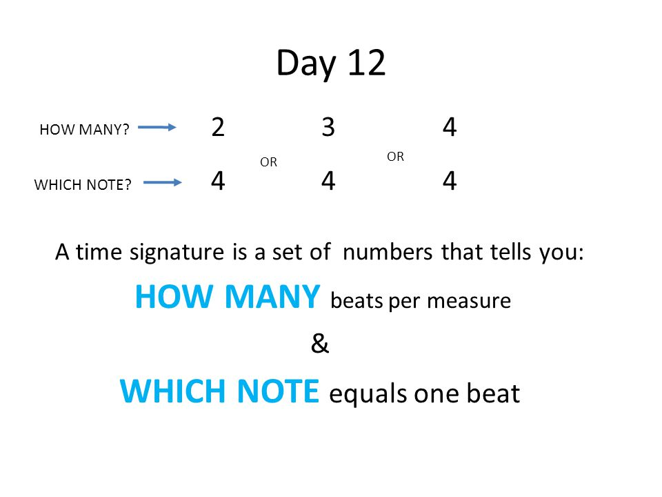 Day 12 2424 3434 4444 OR A time signature is a set of numbers that tells you: HOW MANY beats per measure & WHICH NOTE equals one beat HOW MANY? WHICH
