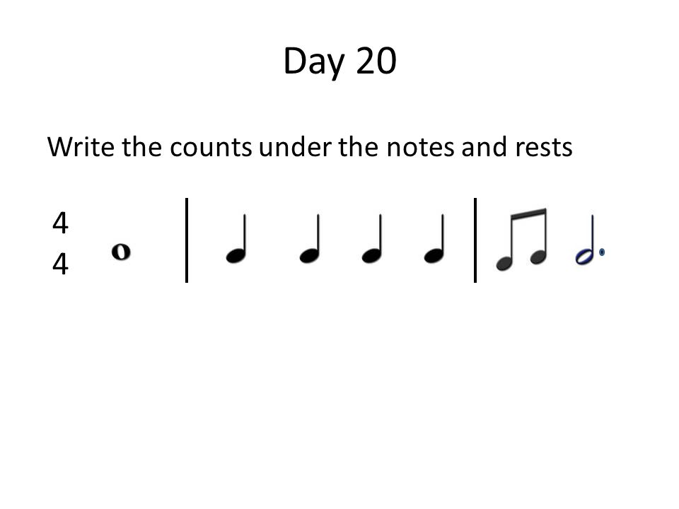 Day 20 Write the counts under the notes and rests 4444