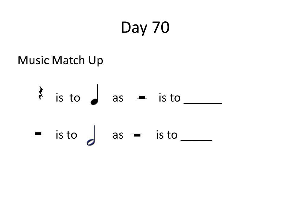 Day 70 Music Match Up is to as is to ______ is to as is to _____