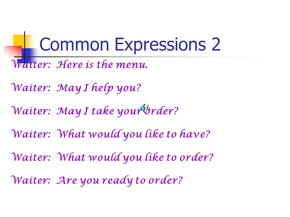 Common Expressions 1 Waiter: Good afternoon. Waiter: Good evening.