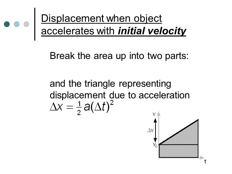 Displacement when object accelerates with initial velocity Break the area up into two parts: and the triangle representing displacement due to acceler